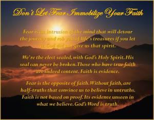 Dont Let Fear Immobilize Your Faith