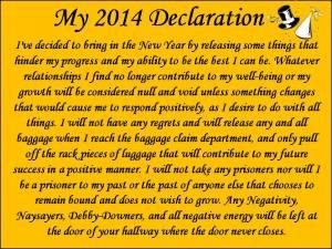 My 2014 Declaration