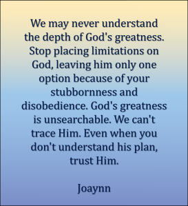 Depth Of God's Greatness Joaynn